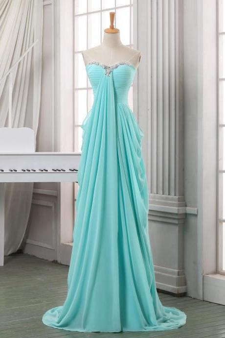 Sky Blue Floor Length Chiffon A-Line Prom Dress Featuring Ruched Sweetheart Bodice with Crystal Embellishments